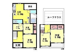 [一戸建] 兵庫県神戸市灘区烏帽子町2丁目 の賃貸【/】の間取り