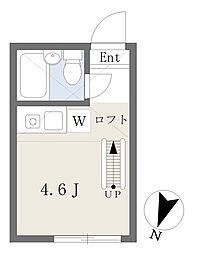 横浜市営地下鉄ブルーライン 横浜駅 徒歩20分の賃貸アパート 2階ワンルームの間取り