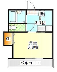 神奈川県小田原市北ノ窪の賃貸アパートの間取り