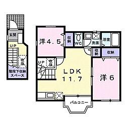 東京都府中市押立町2丁目の賃貸アパートの間取り
