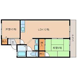 JR桜井線 長柄駅 徒歩15分の賃貸アパート 1階2LDKの間取り