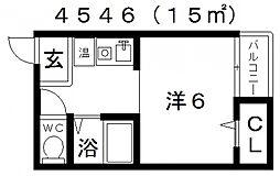 セラ天王寺A[413号室号室]の間取り