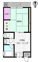 東京都中野区沼袋4丁目の賃貸アパートの間取り