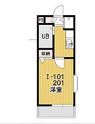 プレステージ新沢I[201号室]の間取り