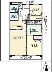 アコールヤマショウ[6階]の間取り