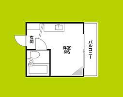 野江II番館 3階ワンルームの間取り