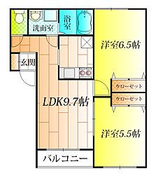 ベルリード藤井寺A棟[2階]の間取り