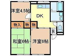 静岡県富士市宮下の賃貸アパートの間取り