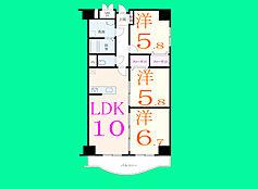 3LDK、価格2890万円、専有面積64.58m2、バルコニー面積6.45m2