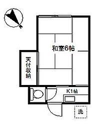神奈川県横浜市鶴見区北寺尾2丁目の賃貸アパートの間取り