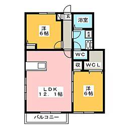 メゾンアンソレイエ[1階]の間取り