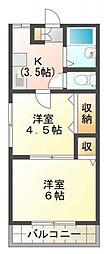 ハイツサカウエ[2階]の間取り