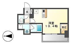 ハーモニーレジデンス名古屋新栄[7階]の間取り