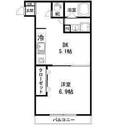 Feliz岸和田 1階1DKの間取り