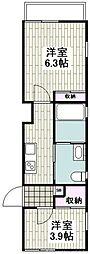 相鉄本線 鶴ヶ峰駅 徒歩5分の賃貸アパート 1階2Kの間取り