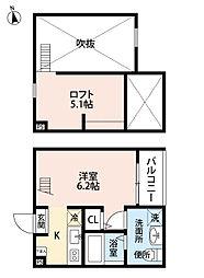 愛知県名古屋市港区港栄3丁目の賃貸アパートの間取り