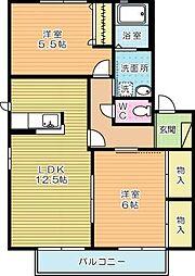リバーサイドII B棟[2階]の間取り