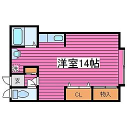 コーポケーアイ[202号室]の間取り