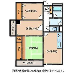 長野県諏訪市高島2丁目の賃貸マンションの間取り