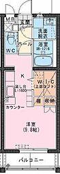 Riviere Champ 元宮 1階ワンルームの間取り