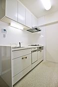食器洗浄乾燥器付きキッチン。手洗いよりも水量が少ないためコストも削減されます。