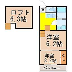 愛知県名古屋市中川区八剱町2丁目の賃貸アパートの間取り