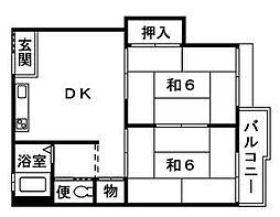 神奈川県平塚市纒の賃貸アパートの間取り