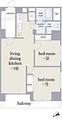2階2LDK、専有面積60.71?、南西向きのお部屋です