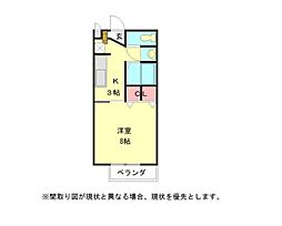 愛知県岩倉市八剱町郷前の賃貸アパートの間取り