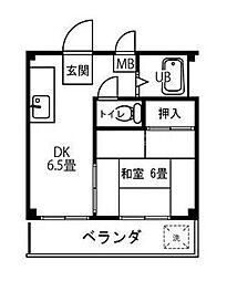 ホワイトパレス蒔田[3階]の間取り