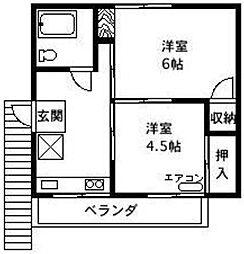 田中荘[2号室]の間取り