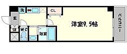 セブンレジデンスニッポンバシ 9階1Kの間取り