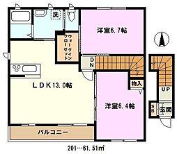 埼玉県川口市神戸の賃貸アパートの間取り