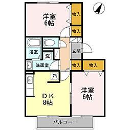 東京都国分寺市光町1丁目の賃貸アパートの間取り