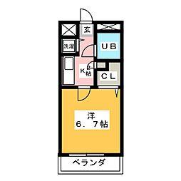 愛知県名古屋市天白区八事山の賃貸マンションの間取り