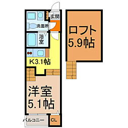 愛知県名古屋市中村区中島町2丁目の賃貸アパートの間取り