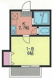 神奈川県横浜市南区六ツ川1丁目の賃貸アパートの間取り