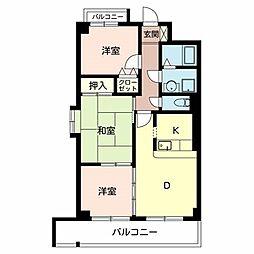 ベルファーレヤブウチ[4階]の間取り