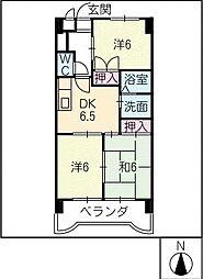 ハイムK2[4階]の間取り