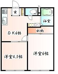 神奈川県相模原市中央区中央1丁目の賃貸アパートの間取り