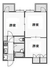 東京都世田谷区代沢2丁目の賃貸マンションの間取り