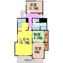 愛知県名古屋市昭和区汐見町の賃貸マンションの間取り