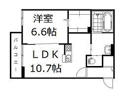 JR山陽本線 高島駅 徒歩22分の賃貸アパート 2階1LDKの間取り
