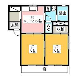 クリエーション西峯田 1階2Kの間取り