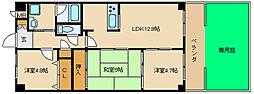 大阪府東大阪市川田1丁目の賃貸マンションの間取り