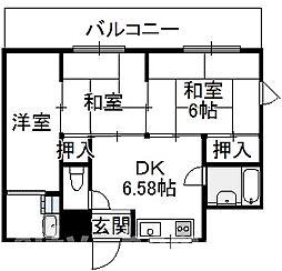大阪府大阪市東住吉区湯里2丁目の賃貸マンションの間取り