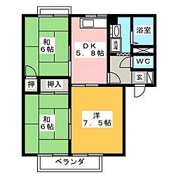 フロンティア B棟[2階]の間取り