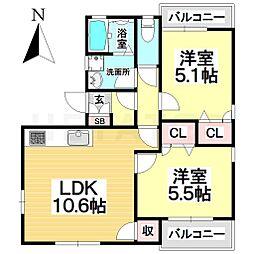 愛知県名古屋市瑞穂区柳ケ枝町2丁目の賃貸アパートの間取り