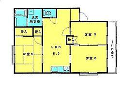 鳥取県米子市西福原9丁目の賃貸アパートの間取り