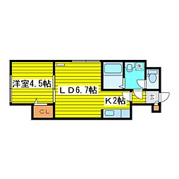 北海道札幌市東区北十六条東18丁目の賃貸アパートの間取り
